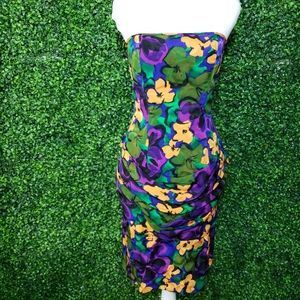 Vintage 80s Flora Kung Silk Strapless Floral Dress